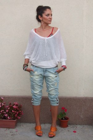 white sheer Victorias Secret blouse - light blue New Yorker jeans