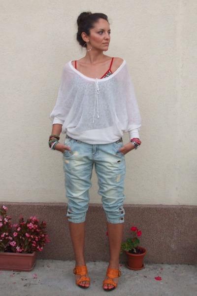 White Sheer Victorias Secret Blouses Light Blue New Yorker Jeans
