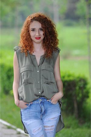 army green satin H&M shirt - black Leonardo boots - light blue New Yorker jeans