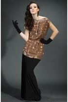 bronze with gold sequin detail dress - black maxi skirt - black Elegant gloves