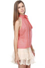 Coral Bow Tie LuLus Blouses Off White Ruffle LuLus Skirts