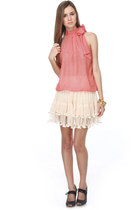 coral bow tie LuLus blouse - off white ruffle LuLus skirt