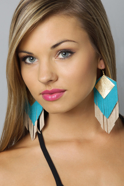 tan leather fringe Claire Fong earrings