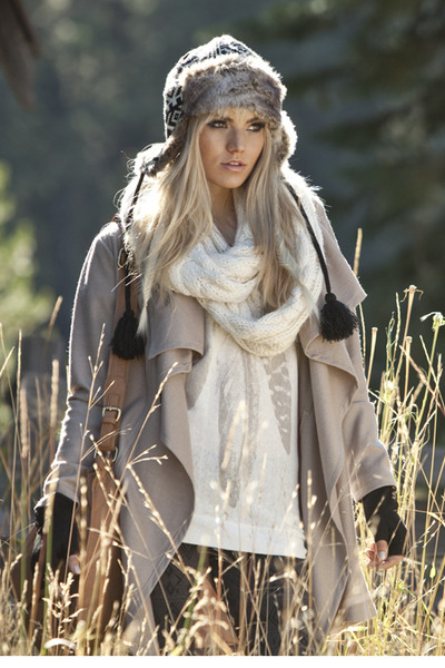 Faux fur hat - cream jacket - feather print top - Infinity scarf