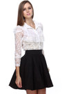 Ivory Lace LuLus Blouses Black Patent Leather LuLus Wedges Neutral LuLus Heels
