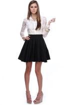 ivory lace LuLus blouse - black patent leather LuLus wedges - neutral LuLus heel