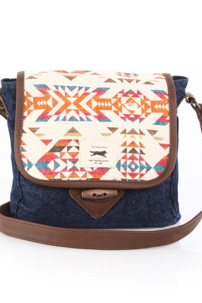 navy tribal print obey bag