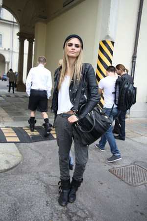 leather jacket jacket - boots - leather bag bag