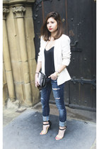 black asos bag - ivory Mango jacket - black Zara heels