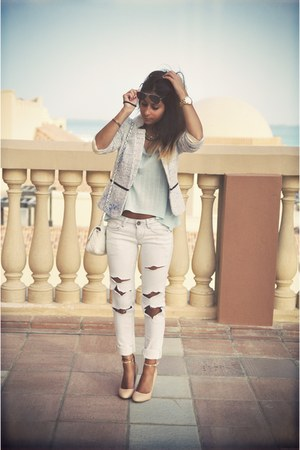 off white ripped vintage jeans - Mango jacket - light blue Forever 21 top