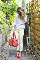 red Zara heels - yellow Bershka pants