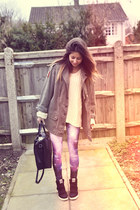 military vintage jacket - ivory Primark sweater - galaxy romwe leggings