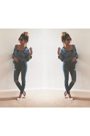 blue Topshop jeans - blue Zara shirt - white Bershka pumps
