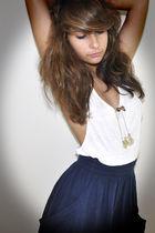 blue Zara skirt - white t-shirt - gold necklace
