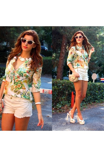 lime green PERSUNMALL shirt - cream Pull and Bear shorts
