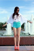 off white H&M shirt - Topshop shorts - carrot orange River Island wedges