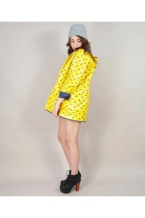 yellow vintage coat - navy vintage coat