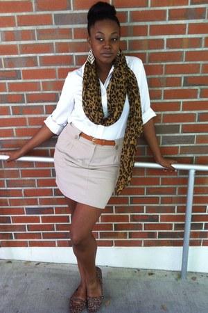 leopard print Forever 21 scarf -  shirt - khaki Forever 21 skirt