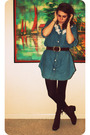 Blue-goodwill-dress-brown-goodwill-belt-brown-george-tights-brown-nine-wes
