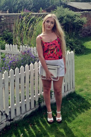 new look bag - Sewn by Sarah Lou shorts - Sewn by Sarah Lou top - Newlook wedges