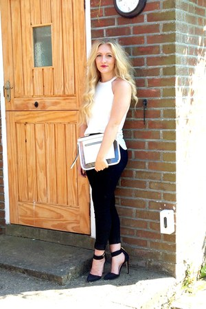 white new look bag - black Topshop jeans - black asos heels