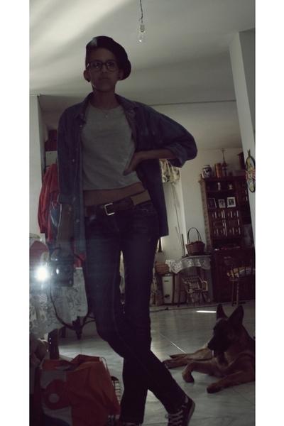accessories - Levis blouse - Zara t-shirt - jeans - converse shoes - glasses