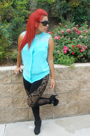 Wet Seal leggings - Forever21 sunglasses - Thrift Store blouse