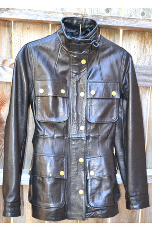 black leather safari banana republic jacket