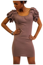 NWT Ladies Knit Bodycon Dress with Couture Style Flutter Sleeves