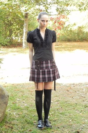 black skirt - black Dr Martens shoes - black Sock Dreams socks