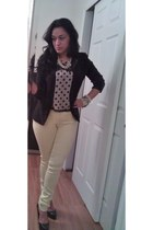 light yellow skinny jeans H&M jeans - black Bebe blazer - polkadot blouse
