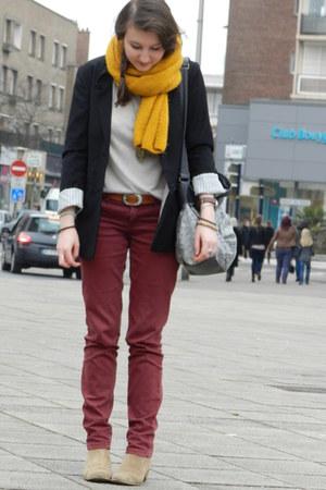 Promod bag - Naf Naf boots - H&M blazer - Pimkie pants - Naf Naf t-shirt