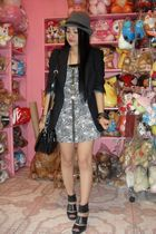 black blazer - black shoes - white dress - black bag - gold accessories - gray h