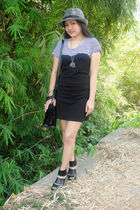 black dress - black purse - black custom made accessories - shoes