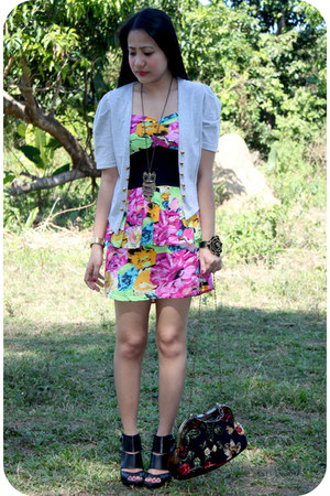 black shoe boots - bubble gum floral dress - periwinkle military blazer - black