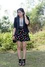 Black-cut-out-shoe-boots-black-blazer-black-bag-black-polka-dot-shorts-g
