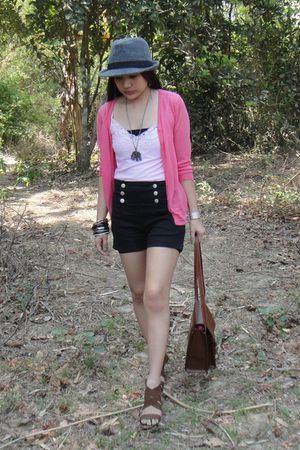 pink thrifted cardigan - black Pazzo shorts - brown pvc purse - gray from a baza