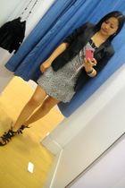 gray blazer - dress - shoes
