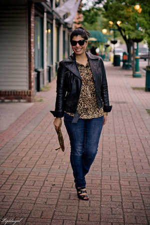 sequined Halston bag - kohls jeans - leather Express jacket