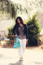 white TJMaxx jeans - navy NY&CO jacket - turquoise blue charm and luck bag - whi