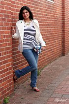 blue Max Studio jeans - white Express jacket - striped Old Navy top - ruby red c