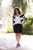 white striped H&M blazer - black pencil H&M skirt - black onex sandals