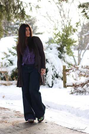 navy TJMaxx jeans - purple Gap top - maroon sequin Rocket Dog clogs