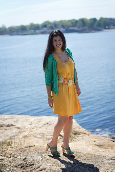 aquamarine Frye sandals - yellow Forever 21 dress - aquamarine H&M cardigan