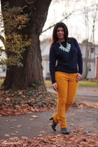 mustard Gap pants - gray Madden Girl boots - navy The Limited sweater
