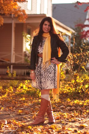 burnt orange Steve Madden boots - periwinkle Gap dress - navy NY&CO jacket