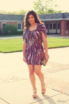 purple BCBG dress - gold Avon bag - cream Mrkt sandals - gold The Cavernous Jewe