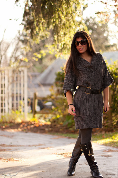 charcoal gray Macys dress - black Halston sunglasses - TJMaxx belt