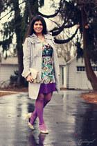 floral print simply vera dress - silver kohls coat - ivory seychelles heels