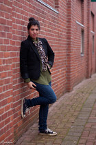 black kohls blazer - army green Old Navy top - black Converse sneakers